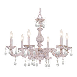 Crystorama - Crystorama 5036-AW-CL-MWP Sutton 6 Light Chandeliers in Antique White - The Sutton Collection uses a textured Venetian Bronze finish to remind us of a Paris flea market. The combination of wrought iron with clear crystal accents makes this fixture both timeless and whimsical. This Paris Flea chandelier works perfectly in small spaces and children''s rooms.