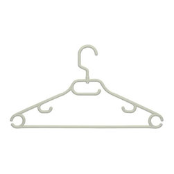Honey Can Do - 52 gram Swivel Hanger with Dress Notch - Pack - Heavy-duty recycled plastic. Sturdy and lightweight. Multiple hanging options. Small accessories bar and lingerie hooks. Limited lifetime warranty. 16.5 in. L x 0.3 in. W x 9.16 in. H (0.57 lbs.)Honey-Can-Do HNG-01363 3-Pack Recycled Swivel Tubular Hangers, White. A versatile, heavyweight (52g) plastic clothes hanger, perfect for all your garments in a 3-piece pack. Features a unique rod hook that swivels 360 degrees to hang items easily on any closet rod, towel bar, or over a standard size door. Integrated accessory hooks keep garments with spaghetti straps in place, plus hangs scarves or belts nicely. A big help in the laundry room, these hangers are great for air-drying delicates. Recycled plastic construction is an eco-friendly alternative.