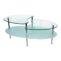 Walker Edison - Walker Edison 38 in. Mariner Oval Coffee Table X-5B83C - This stylish, contemporary coffee table offers multiple levels to showcase magazines, books and more. Its distinctive curved legs supports tempered safety glass and a frosted lower shelf. Each glass shelf features beveled edges for a smooth, soft edge. Three levels of glass combined with brilliant steel legs create a stunning piece.Features:&#8226: Stylish, sturdy design&#8226: Oval-shape with distinct curving legs&#8226: Beveled, tempered safety glass&#8226: Beautiful, frosted finish on lower shelf&#8226: Sparkling steel legs&#8226: Ships ready-to-assemble with necessary hardware and tools&#8226: Assembly instructions included with toll-free number and online support