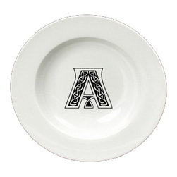 Caroline's Treasures - Letter A Initial Monogram Celtic Round Ceramic White Soup Bowl CJ1059-A-SBW-825 - Letter A Initial Monogram Celtic Round Ceramic White Soup Bowl CJ1059-A-SBW-825 Heavy Round Ceramic Soup Bisque Gumbo Bowl 8 3/4 inches. LEAD FREE, microwave and dishwasher safe. The bowl has been refired over 1600 degrees and the artwork will not fade or crack. The Artwork for this gift product and merchandise was created by Sylvia Corban copyright and all rights reserved.