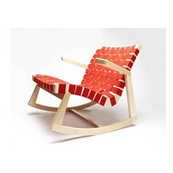 Greenbelt Rocker - With Brass Tacks, Maple Finish, Red Cotton