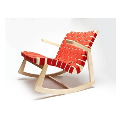 Rapson-Inc. - Greenbelt Rocker - With Brass Tacks, Maple Finish, Red Cotton - One of just a handful of modern classic rocking chairs, this iconic form has been sought after since its first introduction by H.G. Knoll in 1945. Always known for its fusion of American woodcraft and modern lines, the quintessential Rapson Rocker continues to be cut, fit, and finished by American craftsmen in your choice of responsible wood and cotton webbing.  Stunning lines, comfortable form, heirloom quality built with a conscience.