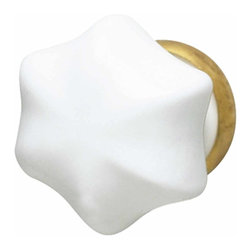 Renovators Supply - Cabinet Knobs Milk Glass 1'' Dia Cabinet Knob W/ Brass Back   11048 - This elegant milk glass knob handle measures 1 in. in diameter and has a brass edging.