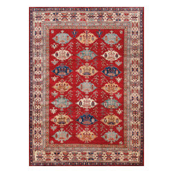 Rugsville - Rugsville  Kazak Red Ivory Wool 16521-8114 Rug 8x11.4 - Our Super Kazak collection carries some of the finest pieces weaved in the Orient! These Kazaks are a modern shape