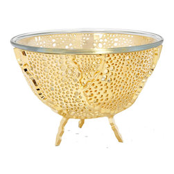 Rablabs - Espera Gold Nut Bowl/Berry Strainer - The design of this collection is inspired by the beautiful webbed form of the sea fan, and its filter-feeding behavior. Our 24K gold-plated fruit and nut bowls are the height of elegance, each one entirely unique. Plated in the United States, these designs support local manufacturing.
