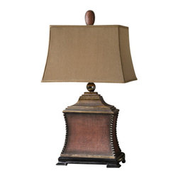 Uttermost - Uttermost 26326 Woven Texture Base Lamp with Textile Shade from the Pavia Collec - Uttermost 26326 Carolyn Kinder Pavia LampAged red finish over a woven textured base with antiqued silver beaded accents, matte black foot and heavily antiqued gold details. The rectangle, semi bell shade is a silkened, rust taupe textile.Features: