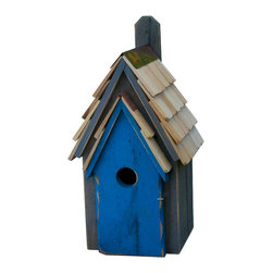 Heartwood - Bluebird Manor Cypress Wood Birdhouse Grey with Blue Door - The  Bluebird  Manor  Birdhouse  is  constructed  from  solid  cypress  wood  and  includes  a  handemade  roof  featuring  stone-washed  shingles.  The  rustic  wood  body  of  the  birdhouse  is  painted  grey  with  a  bright  blue  door.  Perfect  for  your  garden  or  even  as  decor  inside  of  your  home,  this  whimsical  bird  house  has  solid  copper  trim  with  an  easy-access  door  that  hinges  open  so  that  you  can  clean  it  easily,  or  even  view  the  inhabitants.  Great  ventilation,  and  designed  for  drainage,  this  model  includes  a  paddle  so  you  can  hang  it  from  almost  any  surface.          Product  Details:                  8  8  x  16              1.5  inch  hole              available  in  several  colors              Handcrafted  in  USA  from  renewable,  FSC  certified  Cypress  wood