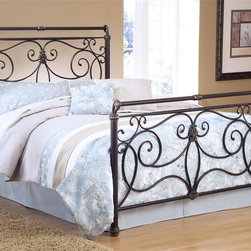 Hillsdale Furniture - Brady Sleigh Bed in Antique Bronze Finish (Qu - Choose Bed Size: QueenIncludes bed frame and rails. Mattress not included. Free-flowing scroll work and intricate castings. Slight sleigh silhouette. Satin Beige frame. Full: 79 in. L x 53.75 in. W x 57 in. H (80 lbs.). Queen : 86.5 in. L x 60.75 in. W x 57 in. H (88 lbs.). King: 86.5 in. L x 60.75 in. W x 76.75 in. H (106 lbs.)Hillsdale Furnitureâs Brady bed is an exquisite display of free-flowing scroll work and intricate castings.This sturdy yet romantic bed features an Antique Bronze finish and has a slight sleigh silhouette.From the feet to the top rail, the intriguing details are what set this bed apart from the others and makes it a fantastic addition to your master or guest bedroom.
