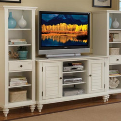 HomeStyles - 3-Pc Entertainment Center (Brushed White) - Finish: Brushed WhiteIncludes credenza and two pier cabinets. British traditional style. Crdenza with two shutter doors. Center compartment with two adjustable shelves. Two storage cabinets with adjustable shelves. Pier cabinet with three adjustable shelves and storage drawer. Effectively hidden cable access points allow for neat wire management. Turned feet. Made from poplar solids and sapelli veneers. Credenza: 49.5 in. W x 20 in. D x 32 in. H. Pier: 22 in. W x 18 in. D x 64 in. H. Overall: 100 in. W x 20 in. D x 32 in. H. Pier Cabinet Assembly Instructions