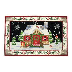 Homefires - St. Nick's Cabin Rug - Let it snow! Let it snow! Let it snow! Oh, the weather outside is frightful, but inside it's so delightful … all because you laid the groundwork with this plush and charming cabin rug. And, should winter's mud and slush cross your doorstep, it can wash out easily, making for a very cool Yule, indeed.