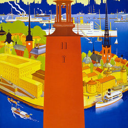 'Stockholm' 1936 Print by Iwar Donner - Stockholm by Iwar Donner in 1936 as a color lithograph at 100 x 62 cm. Published by the Stockholm: Swedish Traffic Association. Poster shows tower of Stockholm's city hall and a bird's eye view of the harbor.