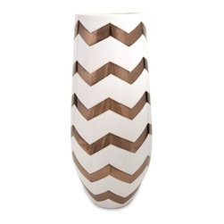 Bronze Metallic Chevron Vase - *Bronze and chevron is a dynamic duo! This Bronze metallic chevron vase will definitely stop you in your tracks.