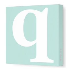 "Avalisa - Letter - Lower Case 'q' Stretched Wall Art, 12"" x 12"", Aqua - Spell it out loud. These lowercase letters on stretched canvas would look wonderful in a nursery touting your little one's name, but don't stop there; they could work most anywhere in the home you'd like to add some playful text to the walls. Mix and match colors for a truly fun feel or stick to one color for a more uniform look."