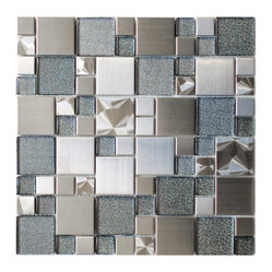 Eden Mosaic Tile - Modern Cobble Stainless Steel With Silver Glass Tile, Sample - Inspired by the antique cobblestone streets of Europe this metal mosaic stainless steel tile features three different sizes of tile including a large square small square and medium brick but also features clear glass with a silver dotted backing which has a unique reflection. This tile is ideal for stainless steel kitchen backsplashes, accent walls, bathroom walls, and bathroom back splashes. The tiles in this sheet are mounted on a nylon mesh which allows for an easy installation. Imported.