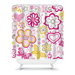Shower Curtain Flower Fushia Gold Gray 71x74 Bathroom Decor Made in the USA - DETAILS: