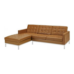 Modway Imports - Modway EEI-1046-TAN Loft Left-Arm Leather Sectional Sofa In Tan - Modway EEI-1046-TAN Loft Left-Arm Leather Sectional Sofa In Tan