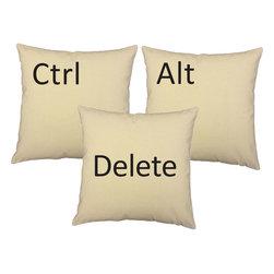 RoomCraft - Ctrl Alt Delete Pillow Covers 16x16 Natural Computer Shams - FEATURES: