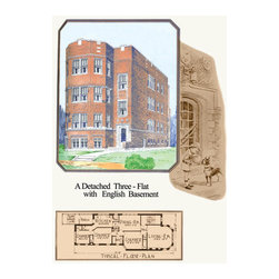 Buyenlarge - A Detached Three-Flat with English Basement 20x30 poster - Series: Commercial & Apartment Buildings - USA