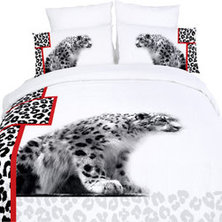 Dolce Mela - Safari Themed Luxury Duvet Covet Set Dolce Mela DM431, Twin - Give a stylish makeover to your bedroom with this animal themed bedding featuring white cheetahs on a modern black and white setting with red stripe accents.