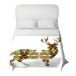 DiaNoche Designs - Deer Duvet Cover - Lightweight and super soft brushed twill duvet cover sizes twin, queen, king. Cotton poly blend. Ties in each corner to secure insert. Blanket insert or comforter slides comfortably into Duvet cover with zipper closure to hold blanket inside. Blanket not Included. Dye Sublimation printing adheres the ink to the material for long life and durability. Printed top, khaki colored bottom. Machine washable. Product may vary slightly from image.