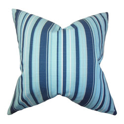 """The Pillow Collection - Gautier Stripes Pillow Blue 18"""" x 18"""" - Inject a fun look to your interiors by tossing this accent pillow. This square pillow features a classic stripe pattern in alternating shades of blue and white. Incorporate a sleek look to your living room, bedroom or lounge area by tossing this decor pillow with solids and other patterns. Made from 100% plush cotton material, this 18"""" pillow is US-made. Hidden zipper closure for easy cover removal.  Knife edge finish on all four sides.  Reversible pillow with the same fabric on the back side.  Spot cleaning suggested."""