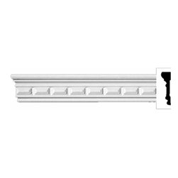 "Renovators Supply - Crown Moldings Urethane Sutton - Crown Molding - Ornate | 11689 - Crown Moldings: Made of virtually indestructible high-density urethane our crown molding is cast from steel molds guaranteeing the highest quality on the market. High-precision steel molds provide a higher quality pattern consistency, design clarity and overall strength and durability. Lightweight they are easily installed with no special skills. Unlike plaster or wood urethane is resistant to cracking, warping or peeling.  Factory-primed our crown molding is ready for finishing.  Measures 96""x 2 5/8"""