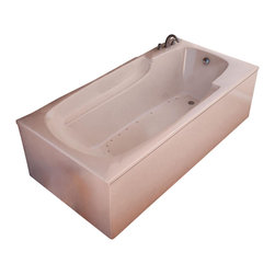 Spa World Corp - Atlantis Tubs 3260EAR Eros 32x60x23 Inch Rectangular Air Jetted Bathtub - The Eros collection features luxuriously designed corner bathtubs, with a traditional oval interior. Molded floor pattern prevents bathers from falling, while adding a piquant flavor to the bathtub's design. Lightweight construction makes installation quick and easy. Interior armrests provide luxury and comfort.  An airpool bathtub creates thousands of warm bubbles that stimulate the skin's light touch receptors, producting an overall calming effect.  An air blower works like a giant hair dryer, taking the room temperature air, increasing it by approximately 30-degrees and blowing it through the bath.  Air baths differ from a whirlpool in that the massage is much softer.  Drop-In tubs have a finished rim designed to drop into a deck or custom surround.  They can be installed in a variety of ways like corners, peninsulas, islands, recesses or sunk into the floor.  A drop in bath is supported from below and has a self rimming edge that is designed to sit over a frame topped with a tile or other water resistant material.  The trim for the air or water jets is featured in white to color match the tub.