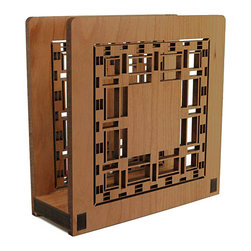 """Lightwave Laser - Frank Lloyd Wright D.D Martin House Napkin or Letter Holder - Perfect for dinner napkins or to hold the day's mail. The Frank Lloyd Wright design of this laser-cut wood holder in cherry finish is adapted from a pier cluster lay-light in the Darwin Martin House (Buffalo, New York, 1904). Dimensions: 6"""" wide x 6"""" tall x 2.5"""" deep."""