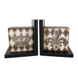 Zeckos - Harlequin Crown and Fleur De Lis Wooden Bookends - Made of wood, this beautiful pair of black lacquer bookends has a harlequin print on the front. A crown is featured in the center of one bookend, the other features a Fleur de Lis symbol. Measuring 6 1/4 inches tall, 4 inches deep, and 5 5/8 inches wide, they add a touch of royalty and style to any room. This pair also makes a great present for the holidays or for housewarming gifts.