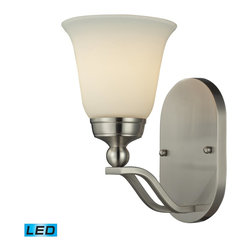 Elk Lighting - Elk Lighting Sullivan Wall Sconce with Brushed Nickel X-DEL-1/00511 - Gently Curving Double Arms Arch Towards Stylish, Flared Shaped Opal White Glass. The Qualities Of The Opal Glass Provide A Pleasantly Diffused Light For Daily Use As Well As For Special Occasions. A Brushed Nickel Finish Provides Versatility To Coordinate With A Host Of Room Settings.  - LED Offering Up To 800 Lumens (60 Watt Equivalent) With Full Range Dimming. Includes An Easily Replaceable LED Bulb (120V).