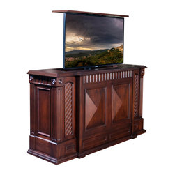 """Park Avenue TV lift cabinet is US Madeand comes in 16 designer finishes - TV Lift furniture Cabinets,  Park Avenue by """"Best of Houzz 2014"""" for service,  Cabinet Tronix."""