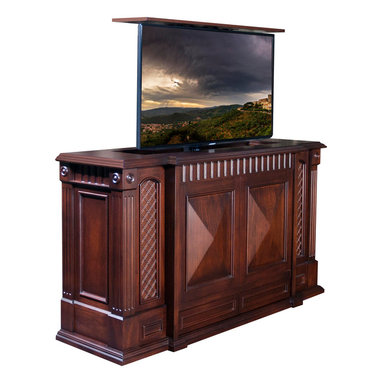"Park Avenue TV lift cabinet is US Madeand comes in 16 designer finishes - TV Lift furniture Cabinets,  Park Avenue by ""Best of Houzz 2014"" for service,  Cabinet Tronix."