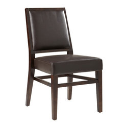 "Sunpan Modern - Citizen Side Chair (Set of 2) - Features: -Citizen collection. -Finish: Espresso. -Material: Solid wood/bonded leather. -Handsome dining chair has been designed for both transitional and modern environments. -Sits amazingly well. -Side and rear stretchers offer reinforced stability. -Seat height: 19.25"". -Please note that the leg color on Sunpan dining chairs does not always match the dining table color. -Please note that although every attempt has been made to ensure accuracy, all dimensions are approximate and colors may vary. -This item is deemed acceptable for both residential and nonresidential environments such as restaurants, hotels, lounges, offices and reception areas. Please note that this item carries the manufacturer's standard ONE YEAR WARRANTY from the date of purchase. Please contact Wayfair customer service or sales representatives for further information."