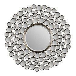 Large Beveled Round Mirror -