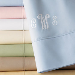 """SFERRA - Full/Queen Flat Sheet Monogrammed - BLUE (FLAT) - SFERRAFull/Queen Flat Sheet MonogrammedDetailsEXCLUSIVELY OURS. 500-thread-count Egyptian cotton percale.Detailed with Sferra's signature """"punta ombre"""" hem.Machine wash.Made in Italy.You will be able to specify personalization details after adding item(s) to your shopping cart. Please order carefully. Orders for personalized items cannot be canceled and personalized items cannot be returned."""
