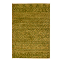 Safavieh - Adirondack Green and Dark Green Rectangular: 5 Ft.1 In. x 7 Ft.6 In. Rug - - The Adirondack Collection uses modern colors and tribal designs to create a very casual rug.  - Finish/Color: Green and Dark Green  - Construction/Weave: Power Loomed  - Pile Height: 0.25  - Material: Polypropylene Safavieh - ADR107D-5