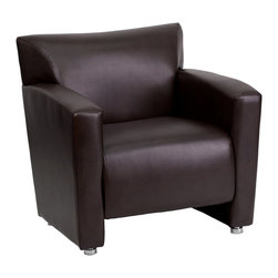 Flash Furniture - Flash Furniture Accent Chair X-GG-NB-1-222 - Having the right office waiting room furniture is essential for companies wanting to send the proper message to both clients and employees. Not only will this chair fit in a professional environment, but will add a chic look to your living room space. This leather chair will get the message sent properly with its uncomplicated yet attractive design to fit in a multitude of environments. [222-1-BN-GG]