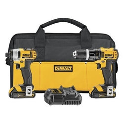 Dewalt - 20V Hammer/Impact Drill - DeWalt 20 V max lithium ion compact hammerdrill/impact driver combo kit. DCD785 20 V MAX* 1/2 In. hammerdrill features two speed transmission (0-600 / 0-2,000). DCF885 20 V MAX* 1/4 In. impact driver features 3 LED lights with 20 second delay to provide visibility without shadows. This kit includes a 20 V max 1.5 Ah Li-ion compact hammer drill, a 20 V max 1.5 Ah Li-ion 1/4 In. impact driver, two 20 V MAX* 1.5 Ah Li-ion battery packs, two belt hooks, a charger, and a kit box.
