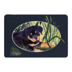 Caroline's Treasures - Rottweiler Kitchen or Bath Mat 20 x 30 - Kitchen or Bath Comfort Floor Mat This mat is 20 inch by 30 inch. Comfort Mat / Carpet / Rug that is Made and Printed in the USA. A foam cushion is attached to the bottom of the mat for comfort when standing. The mat has been permanently dyed for moderate traffic. Durable and fade resistant. The back of the mat is rubber backed to keep the mat from slipping on a smooth floor. Use pressure and water from garden hose or power washer to clean the mat. Vacuuming only with the hard wood floor setting, as to not pull up the knap of the felt. Avoid soap or cleaner that produces suds when cleaning. It will be difficult to get the suds out of the mat.