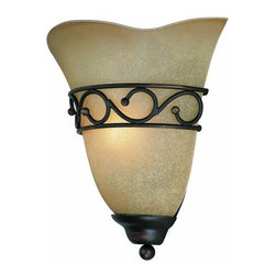 Lite Source - Lite Source LS-16885 1 Light Wall Sconce with Light Amber Glass Shade from the R - 1 Light Wall Sconce Light Amber Glass Shade from the Rosina Series