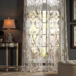 Frontgate - Renaissance Drapery Panel - Woven of 100% polyester. Rod pocket construction. In three sizes. Dry clean. Add a touch of majestic opulence to any room with the Renaissance Drapery Panels. , these palatial sheers feature undulating embroidery and appliqued lace.  .  .  .  .