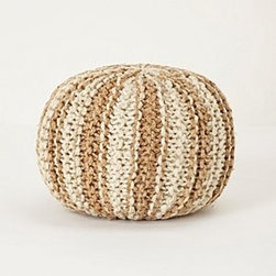 """Anthropologie - Handwoven Hacky Pouf - Cotton, jute; polystyrene fillSpot cleanSmall: 13""""H, 18""""WLarge: 16""""H, 24""""WImported"""