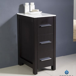"Fresca - Fresca Torino 12"" Espresso Bathroom Linen Side Cabinet - The crisp white ceramic top on the Fresca Torino Bathroom Linen Side Cabinet, part # FST6212ES, gives it a clean look and contrasts well with the rich espresso finish. This bathroom side cabinet features three spacious drawers for your linens or other necessities, and its compact size at 12"" W x 17.75"" D x 28.125"" H makes it ideal for smaller rooms. Increase the height of this linen storage cabinet up to 3.25 inches by adding the optional tall legs so you can easily pair it with other pieces in the Torino line of bathroom fixtures and furniture."