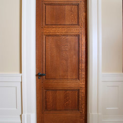 Custom 3 Panel Quarter Sawn White Oak Interior Door - Custom 3 panel Quarter Sawn White Oak interior door with craftsman style painted door casing and custom base blocks.