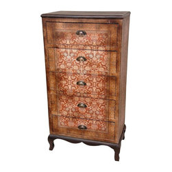 Oriental Furniture - Olde-Worlde Vintage Five Drawer Chest - A beautiful chest of drawers with a uniquely attractive combination of both classic and traditional as well as modern and contemporary design elements. With lots of drawer space, this chest is great for lingerie and smaller clothing, and convenient anywhere a small foot print and lots of storage are desired. The finish isn't as prone to scratches and damage as gloss lacquer or thin veneers; the distinctive beauty of this cabinet is easy to maintain. Beautifully proportioned, great where floor space is at a premium and several drawers are necessary.