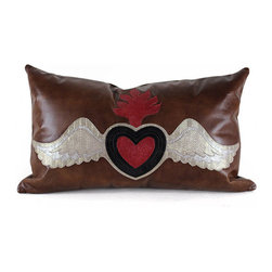 Pfeifer Studio - Sacred Heart Pillow - Your heart will throb for layers of embossed leather showcasing the iconic Sacred Heart in a playfully stunning manner. With a brown leather backdrop, red and black leather set in gilded wings of metallic hues bring this symbol of love to life. Backed in matching leather and filled with a medium-fill feather and down inner, this enchanting pillow brings a little soul to your favorite sofa or chair.