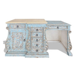 Koenig Collection - Old World French Vanity Desk Prima Donna Acanthus, Turquoise Distressed - Prima Donna Acanthus Vanity, Turquoise Distressed W/ Italian Scrolls and Marble Top