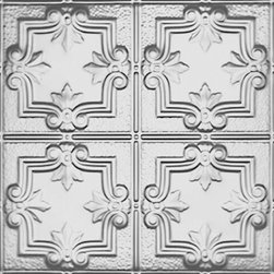 1202DD Tin Ceiling Tile DETAILED FLEUR-DE-LIS - It's difficult to beat an original – that's why nail-up ceiling tiles have been a favorite of builders and homeowners for over a hundred years. Installation is easy and their intricate designs can be used to completely transform a room from dull to exciting in a matter of an afternoon. The big advantage you have over those homeowners of a generation ago is the multitude of ceiling tile options to choose from when decorating a room or an entire level of your home. Where your grandparents could chose any nail-up tiles as long as they were natural tin in one of the few designs offered, your toughest job may be deciding which of the more than 200 patterns and 75 finishes is right for your home.