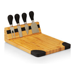 Picnic time - Artisan Cheese Board With Black Silicone Accents and Tools - The Artisan is a deluxe cutting board with classic cheese tools, ideal for any party or event. The Artisan features a silicone covered magnetic strip that invisibly holds its matching cheese tools, including: A crumbly cheese knife, a cheese fork, a pointed-tip cheese knife, and a blunt-nosed cheese knife. The brushed stainless steel tools have velvety, silicone, cushion-grip handles in several color options, and matching silicone accents on the board's corners and underside effectively grip the counter top or table. A recessed juice groove on the board prevents brine or juice run-off and the bamboo surface provides 80 square inches of cutting or serving space. The Artisan is perfect for any kitchen or spread, and makes an excellent gift. Base: 8.9 x 11 x 0.7. Tool block: 2.4 H.