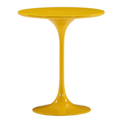 "Zuo - Zuo Wilco Glossy Yellow Side Table - The Wilco round side table is strikingly beautiful in its simplicity. The sleek style features a round glossy yellow painted MDF tabletop smooth lines and a slender glossy yellow coated fiberglass base. Design by Zuo Modern. MDF and fiberglass construction. Glossy yellow painted top. Glossy yellow coated base. Table top is 19 3/4"" round. 22 3/4"" high. Base is 13"" wide.  MDF and fiberglass construction.   Glossy yellow painted top.   Glossy yellow coated base.   Table top is 19 3/4"" round.   22 3/4"" high.   Base is 13"" wide."